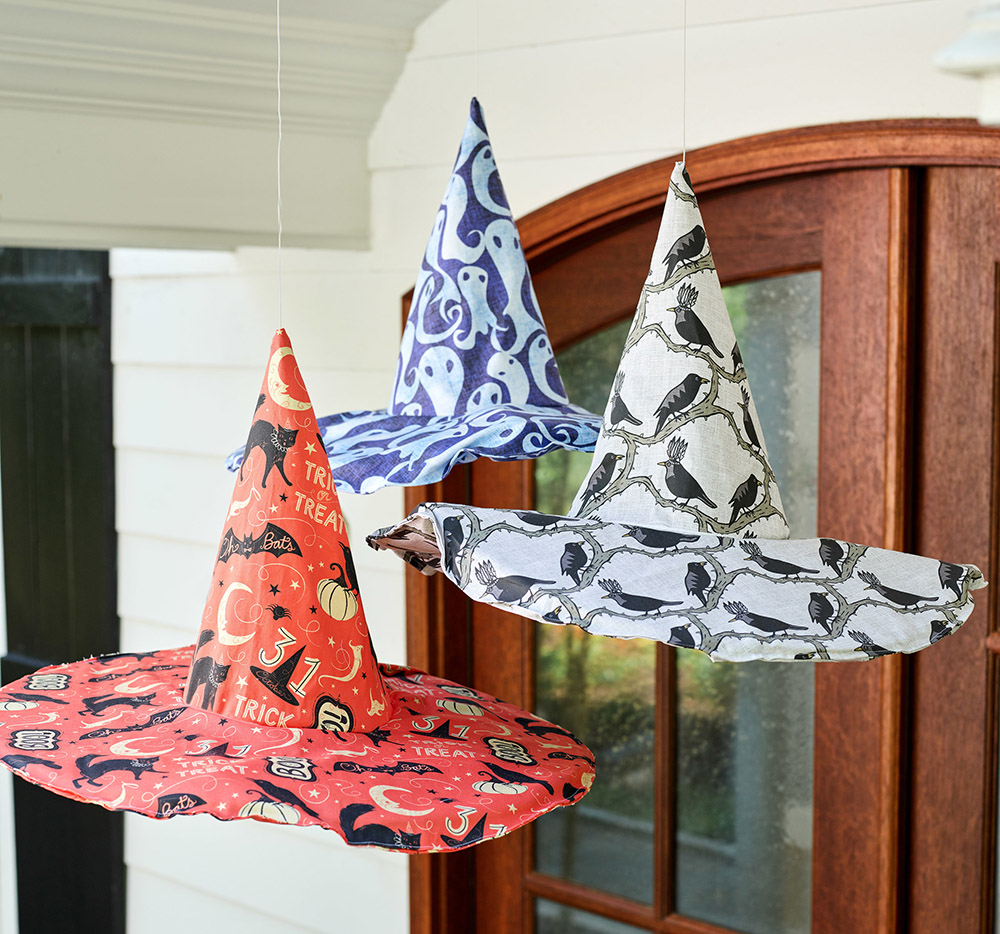 Spooky DIY Hanging Fabric Witch Hats for Halloween | Spoonflower Blog