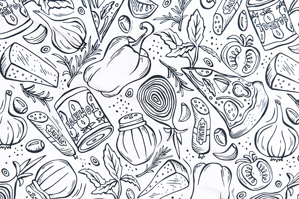 Pizza Night by heatherdutton is the Food Frenzy Coloring Book Design Challenge winner! | Spoonflower Blog