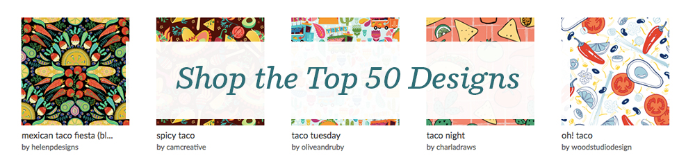 Shop the top 50 Tacos and Burritos Design Challenge winners! | Spoonflower Blog