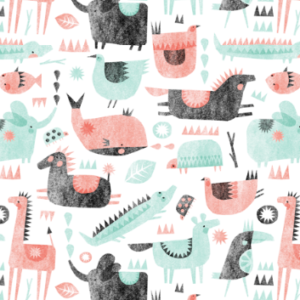 coral mint animal party by wideeyedtree | Spoonflower Blog