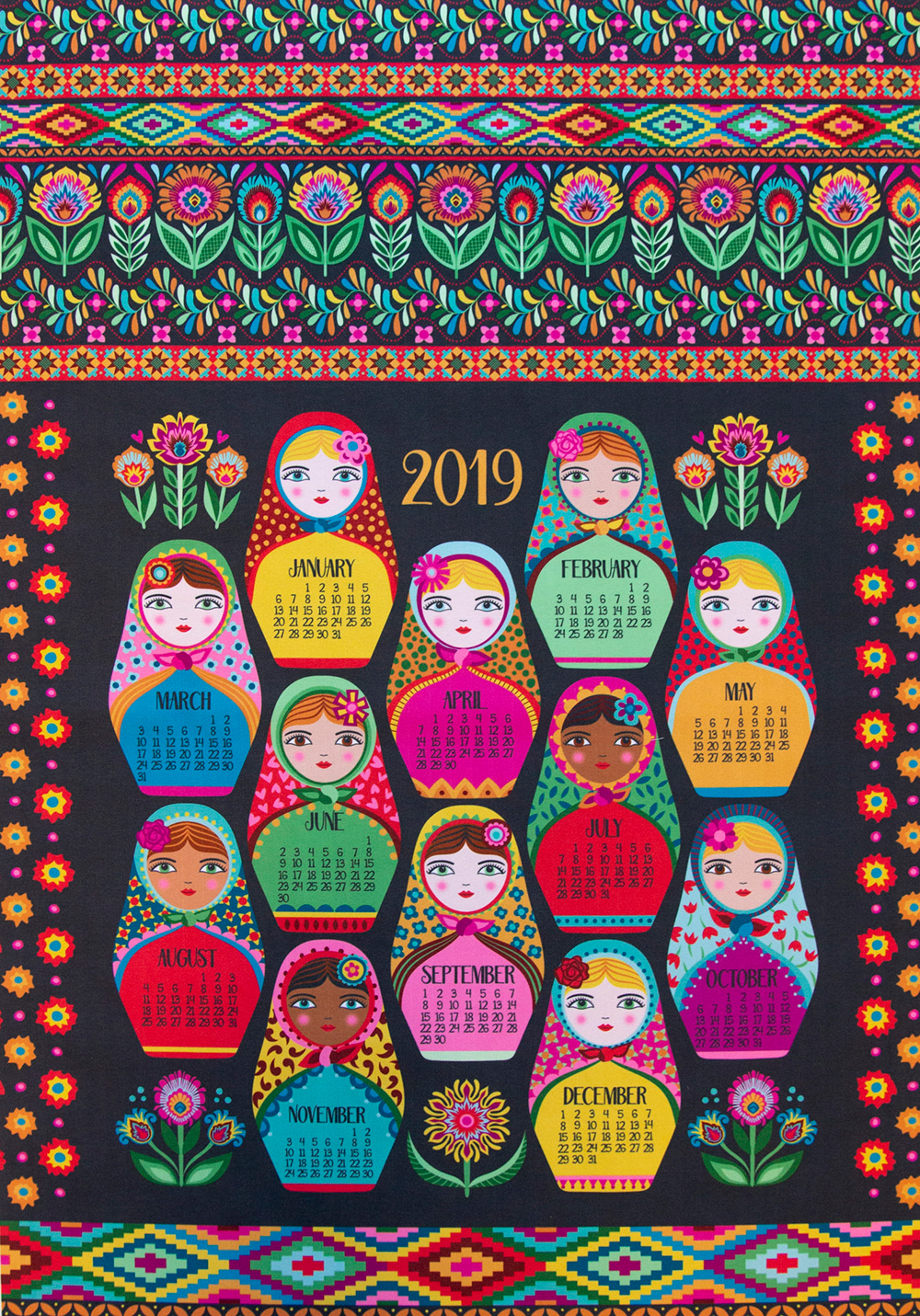 First place in the 2019 Tea Towel Calendar Design Challenge: groovity | Spoonflower Blog