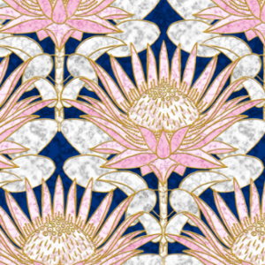 blush king protea art deco midnight by helenpdesigns | Spoonflower Blog