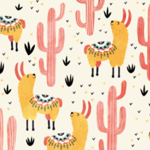yellow llamas red cacti by lidiebug | Spoonflower Blog