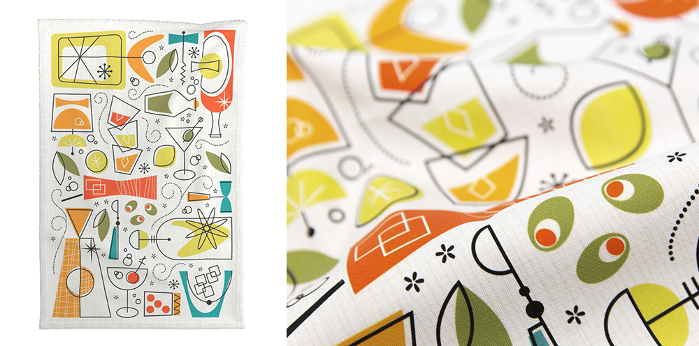 Mid-Century Atomic Party Bar by mia_valdez is this week's Retro Bar Cart Tea Towel Design Challenge winner! | Spoonflower Blog