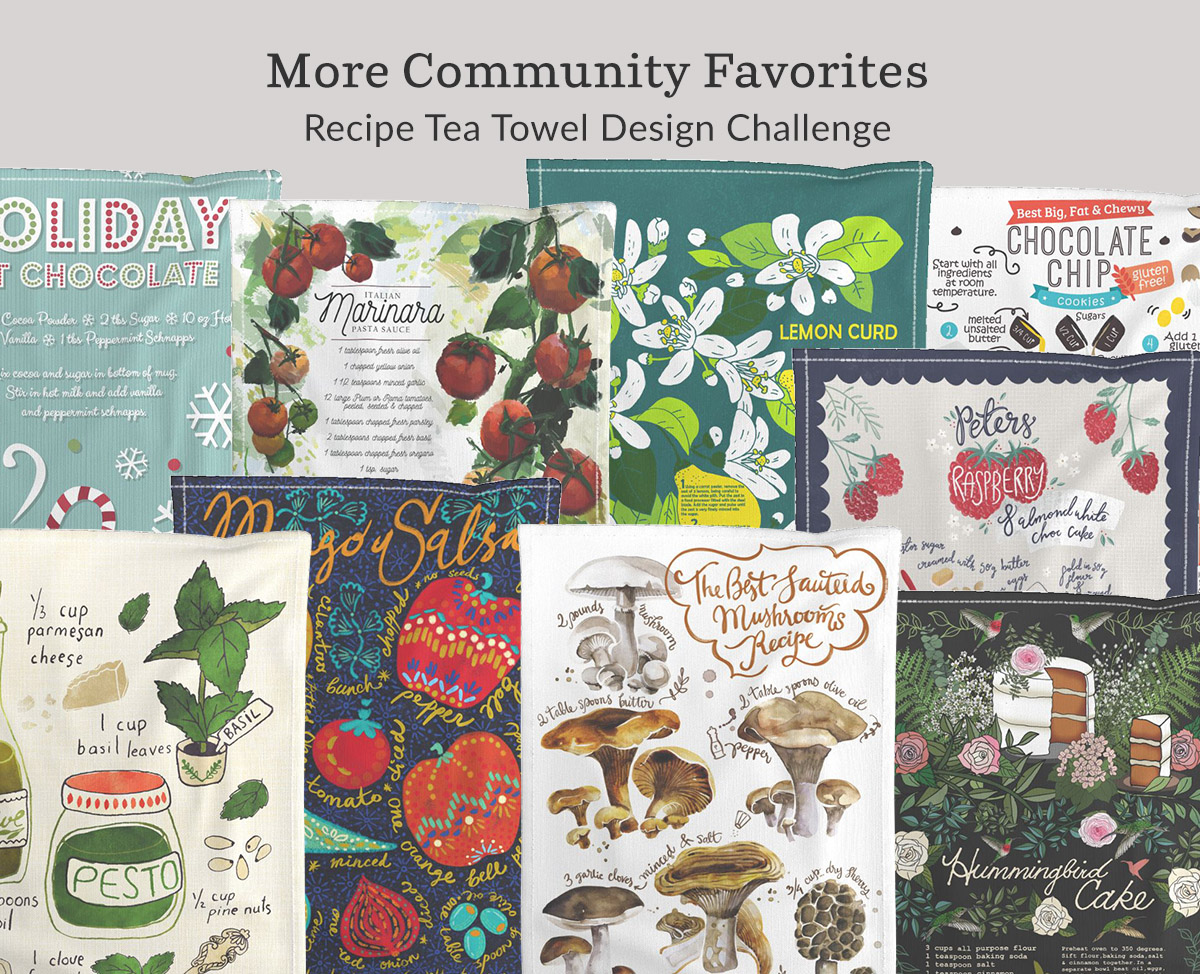 Shop the community favorites in the Recipe Tea Towel Design Challenge | Spoonflower Blog