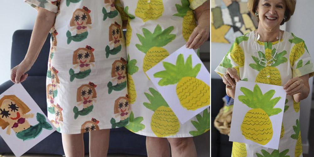 Kinderzeichnungen auf Kleid