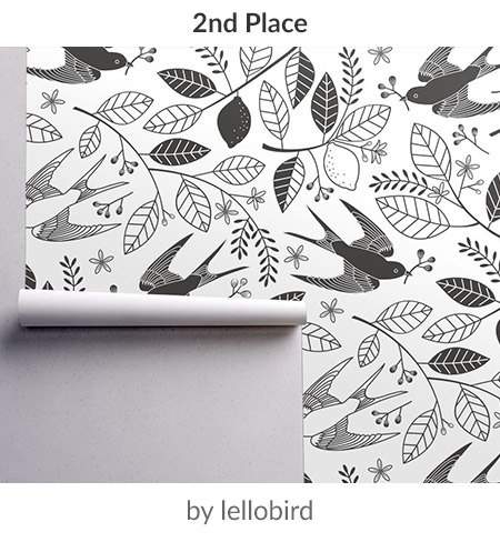 The Lemon Tree Black and White by lellobird is the second place Large Scale Black and White Design Challenge winner! | Spoonflower Blog