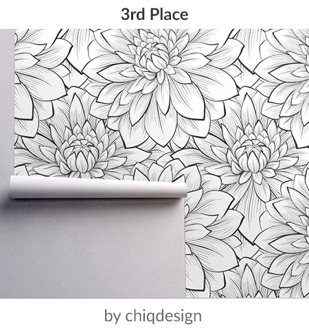 Bold Flowers by chiqdesign is the third place Large Scale Black and White Design Challenge winner! | Spoonflower Blog