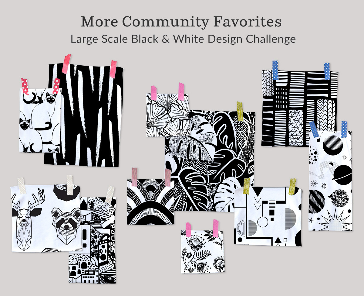 Shop the top Large Scale Black and White Design Challenge winners on fabric, wallpaper and gift wrap | Spoonflower Blog