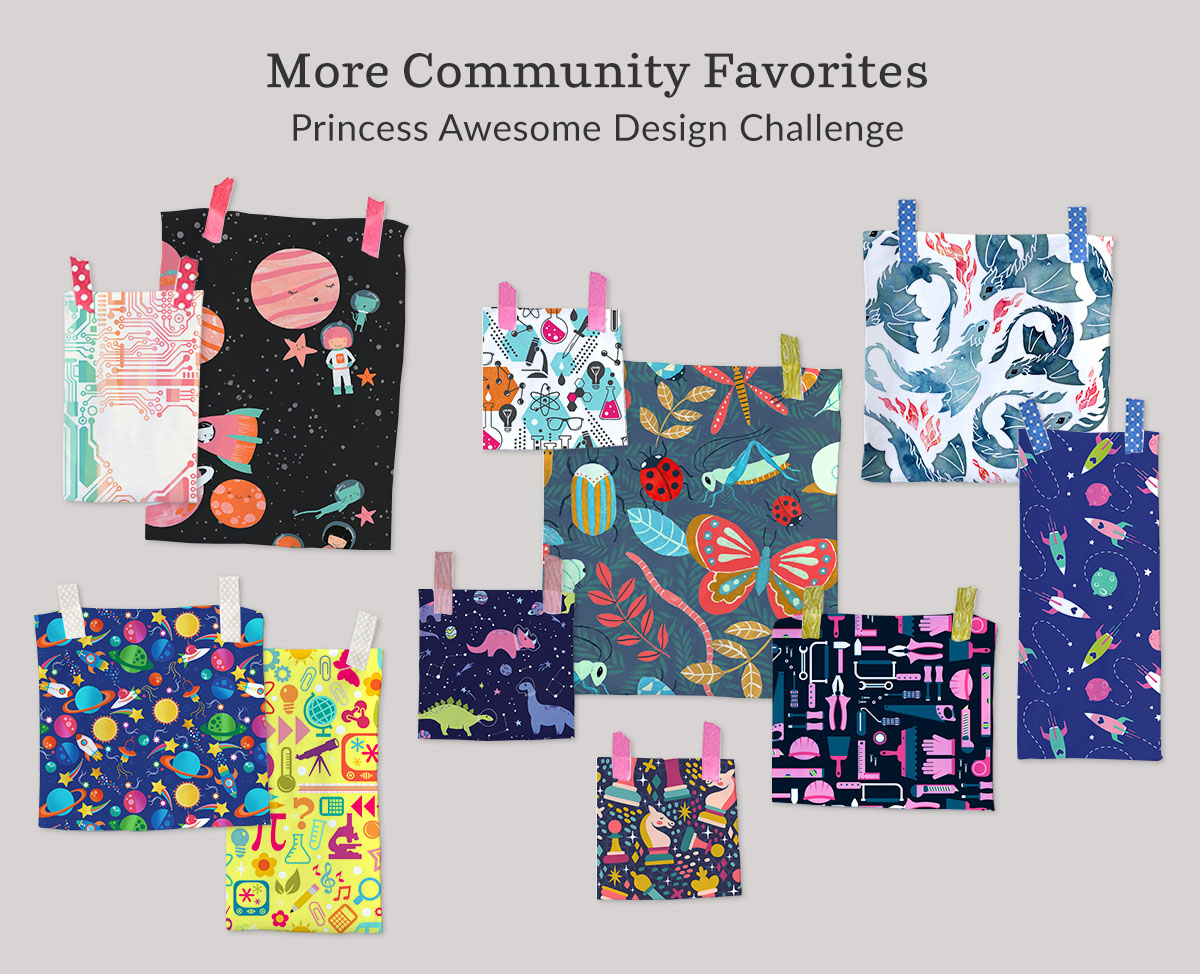 Shop the top designs from the Princess Awesome Design Challenge on fabric, wallpaper and gift wrap | Spoonflower Blog