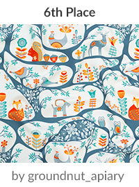 In the forest - Scandinavian Folk Art by groundnut_apiary is a winner in our Scandinavian Art Design Challenge! | Spoonflower Blog