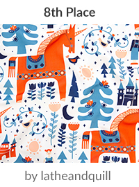 Scandinavian Fairy Tale Blue + Orange by latheandquill is a winner in our Scandinavian Art Design Challenge! | Spoonflower Blog