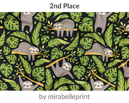 lazy sloths by mirabelleprintis the 2nd place Sloths Design Challenge winner! | Spoonflower Blog