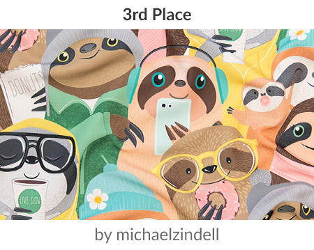 Big City Sloths by michaelzindellis the 3rd place Sloths Design Challenge winner! | Spoonflower Blog