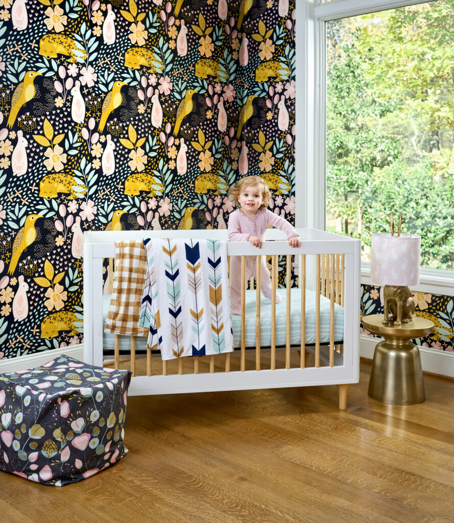 Hang wallpaper in a nursery for a statement wall! | Spoonflower Blog