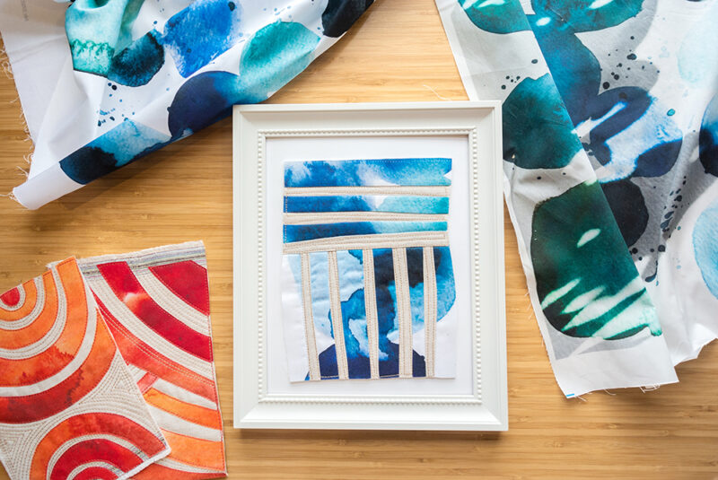 Watercolor fabric made into a quilt block