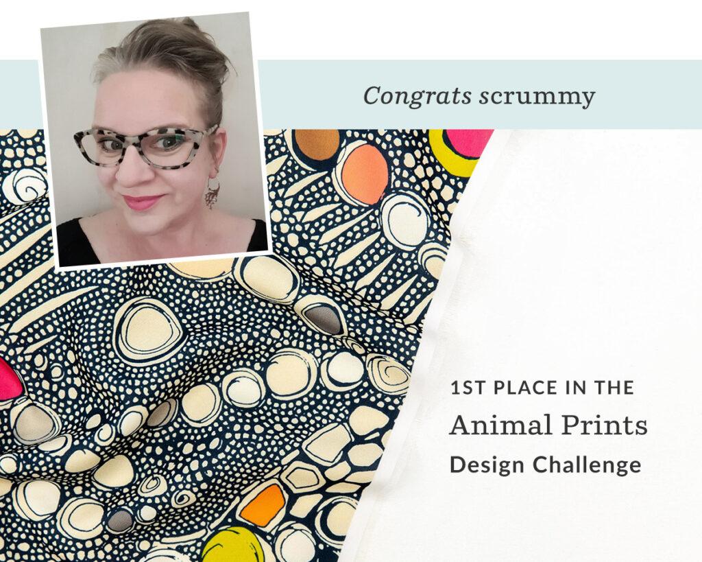 iguana skin indigo pop by scrummy is the Animal Prints Design Challenge winner! | Spoonflower Blog