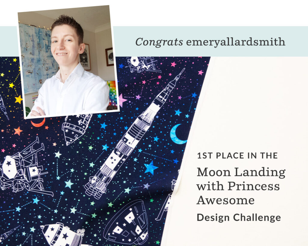 Off to the Moon by emeryallardsmith is the Moon Landing Design Challenge Winner |  Spoonflower Blog