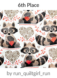 raccoon's valentine by run_quiltgirl_run is a winner in our Be My Valentine Design Challenge! | Spoonflower Blog