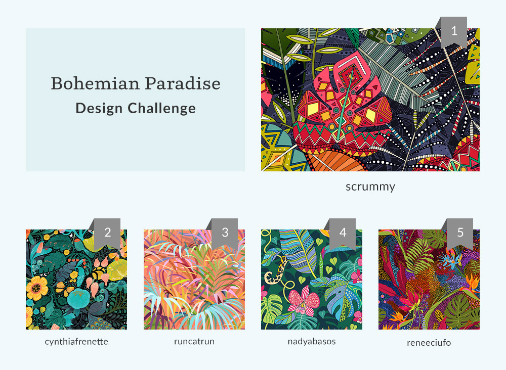 See Where You Ranked in the Bohemian Paradise Design Challenge  | Spoonflower Blog