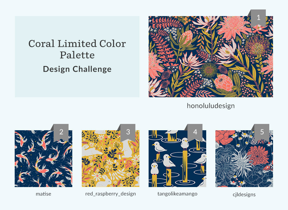 Announcing the Coral Limited Color Palette Design Challenge Winners | Spoonflower Blog