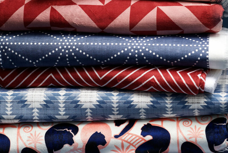 Fabric Stack with blue and red designs