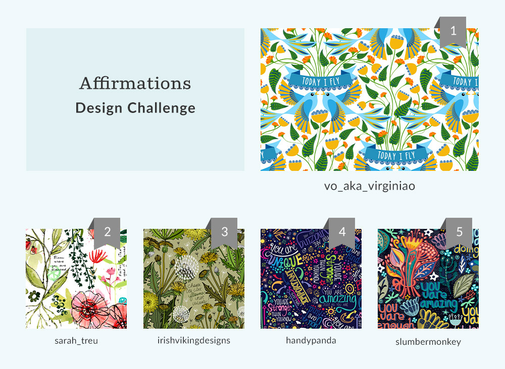 See Where You Ranked in the Affirmations Design Challenge | Spoonflower Blog