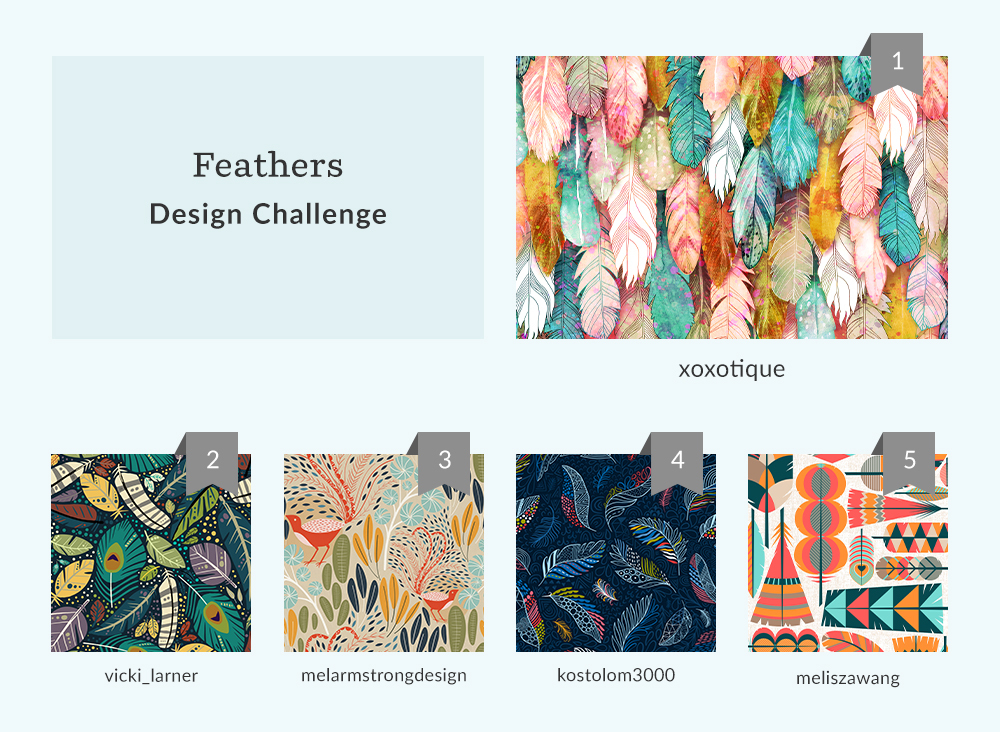 See Where You Ranked in the Feathers Design Challenge | Spoonflower Blog