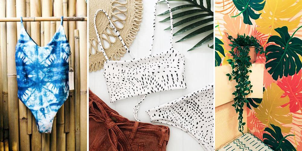 Alisons Spoonflower Designs als Badeanzüge und Tapete