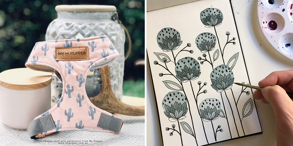Hundegeschirr aus Mels Kaktus-Design gedruckt bei Spoonflower