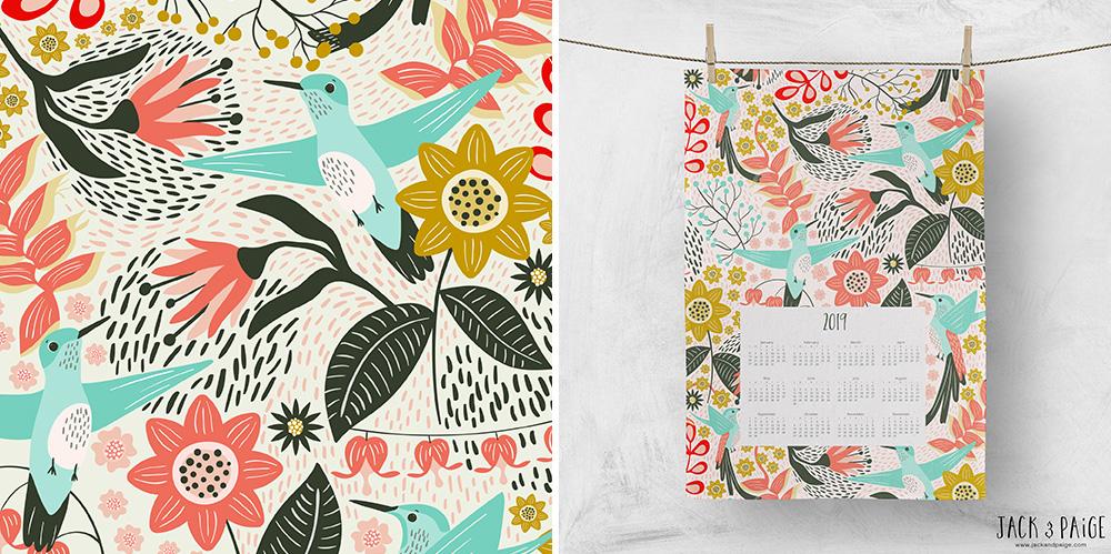Mels Blumen und Kolibri Design als Kalender gedruckt bei Spoonflower