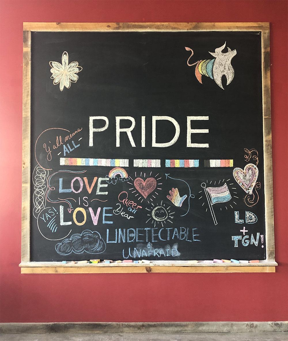 Pride chalkboard at The Rickhouse | Spoonflower Blog