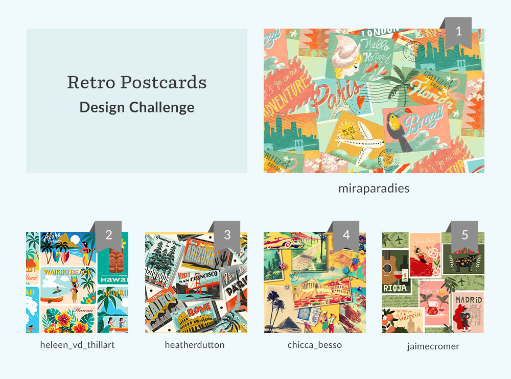 See Where You Ranked in the Retro Postcards Design Challenge | Spoonflower Blog