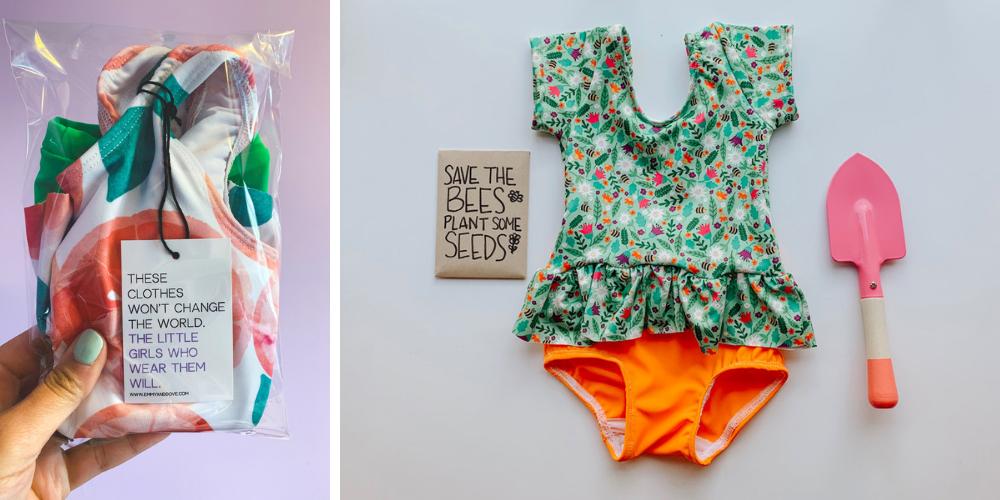 Kinder Badeanzug von Emmy+Dove gedruckt auf Spoonflower Stoffen