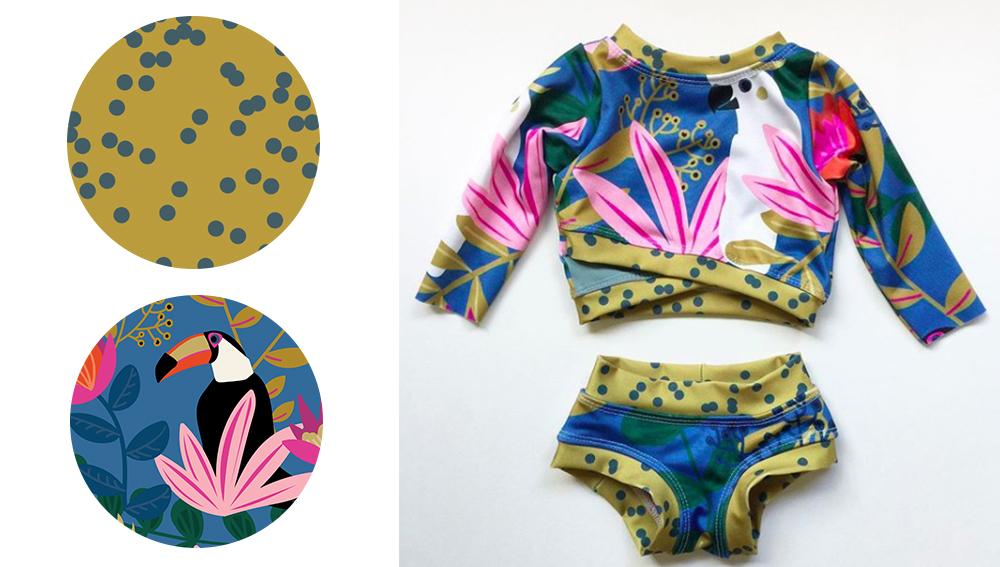 Badeanzug mit tropischem Design gedruckt auf Spoonflower Stoff