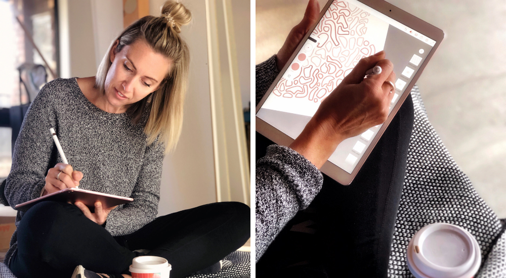 Erin works on sketches using her tablet. | Spoonflower Blog