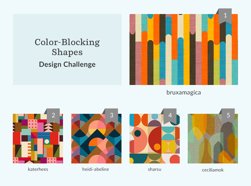 See Where You Ranked in the Color-Blocking Shapes Design Challenge | Spoonflower Blog