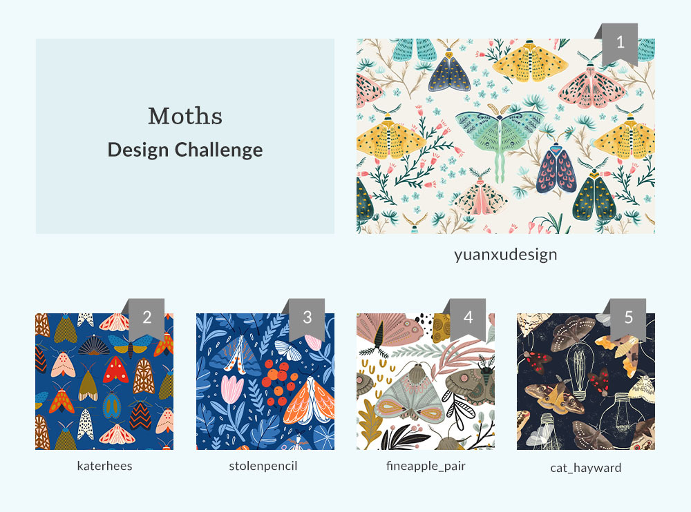 Moth Design Challenge Winners | Spoonflower Blog