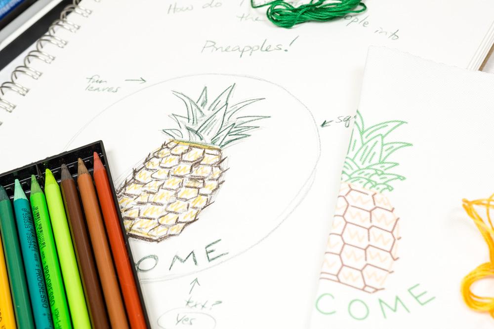 Erst entwirfst du deine Zeichnungen für dein Stickkit