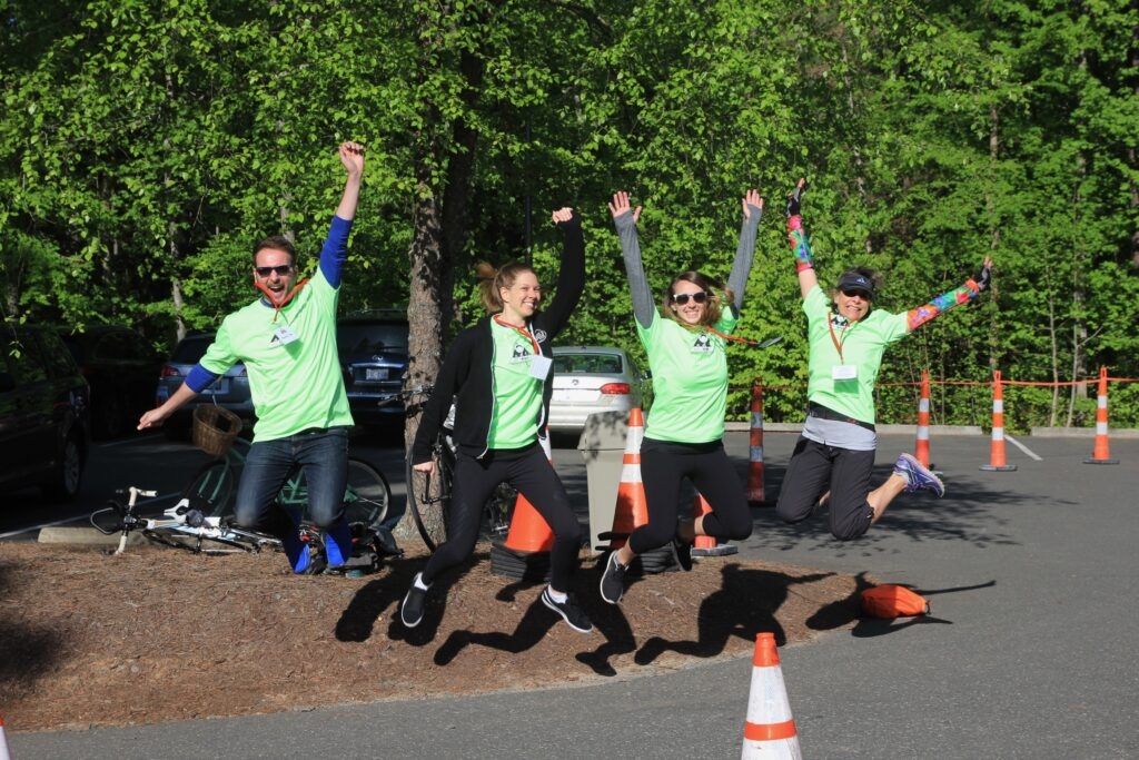 Spoonflower team members are ready to volunteer at the annual JUST TRYAN IT race in North Carolina.  | Spoonflower Blog