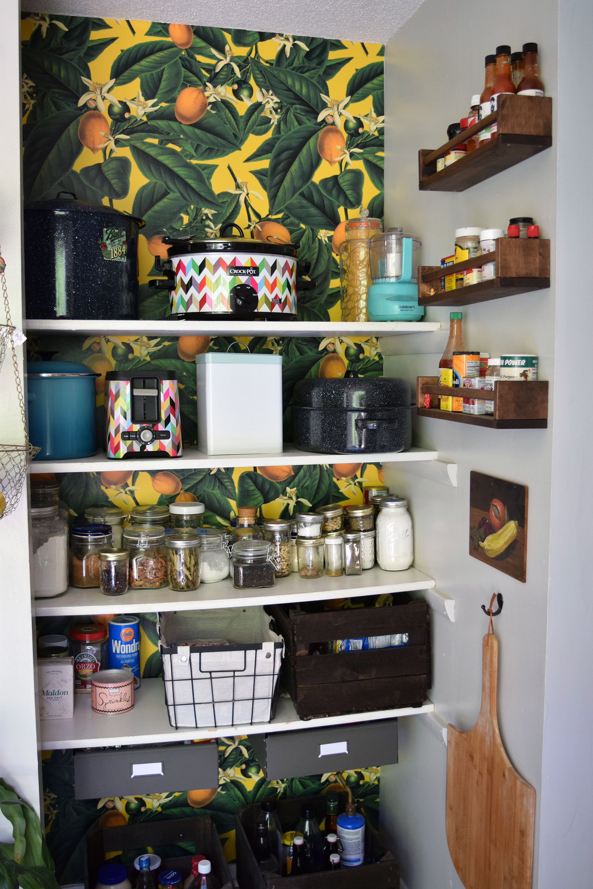 Lemon Wallpaper-Lined Pantry