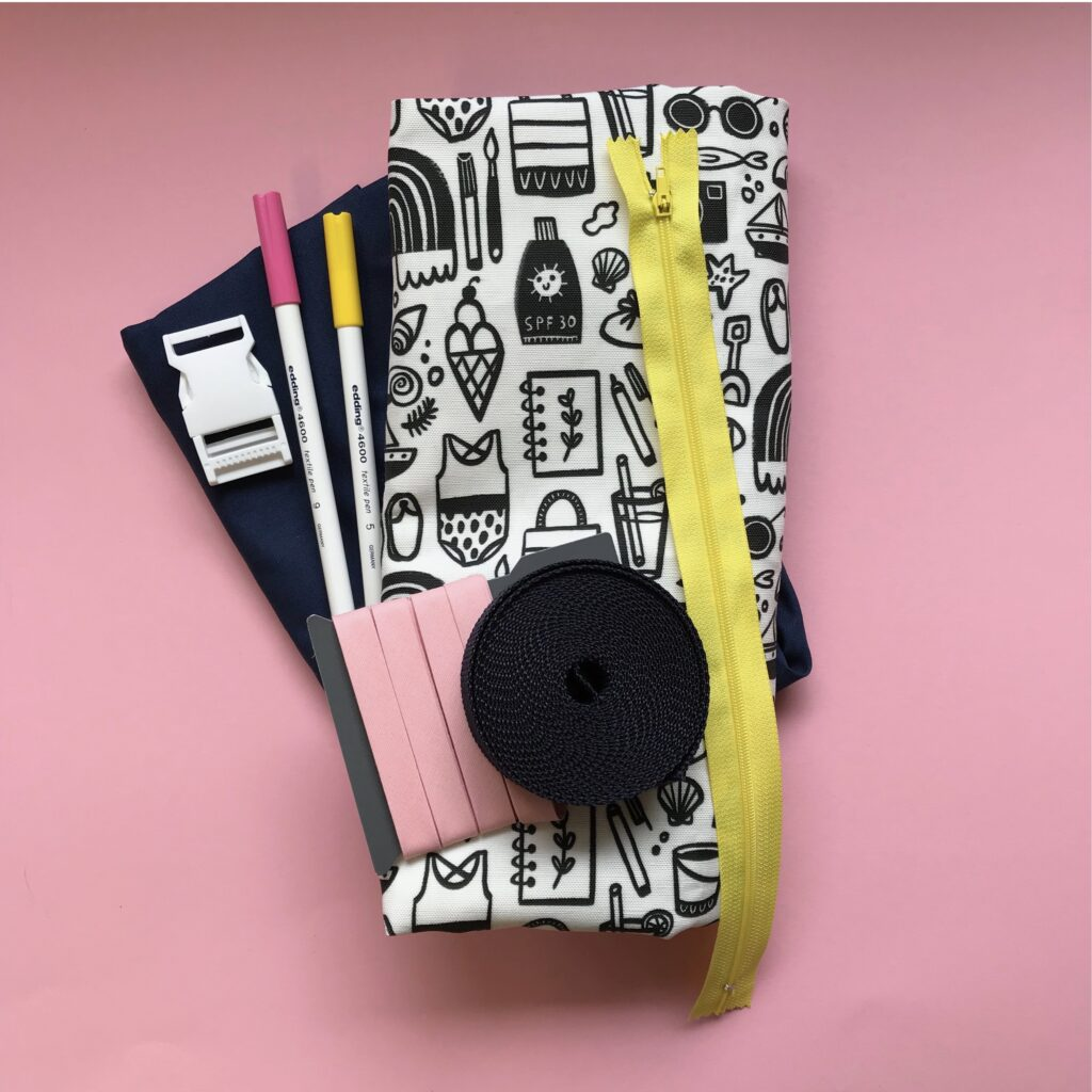 Materials for DIY fanny pack | Spoonflower Blog