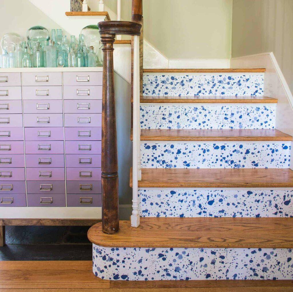 DIY Wallpaper Stair Risers | Spoonflower Blog