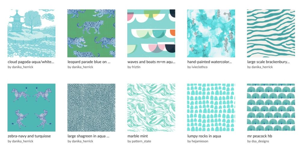 Charlotte and Eleanor started with a collection of aqua designs before they made the final decision for the roman shade fabric.  | Spoonflower Blog