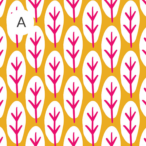 Yellow background with white spots and pink leaves | Spoonflower Blog