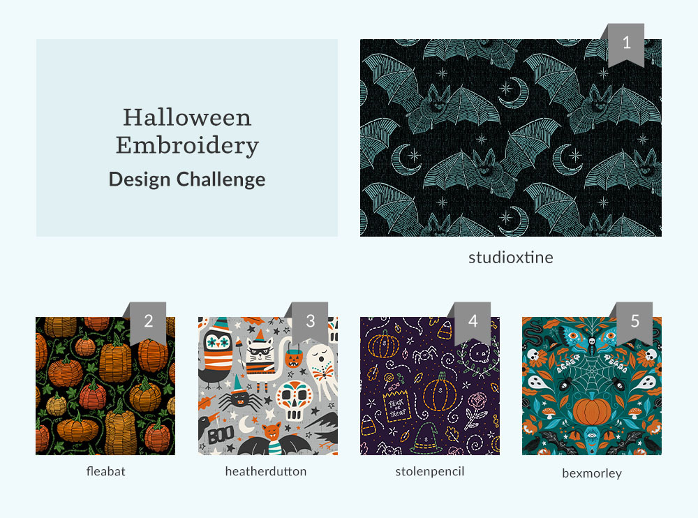 Top five Halloween Embroidery Design Challenge winners | Spoonflower Blog