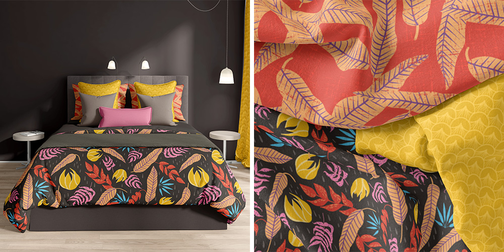 A bedroom set featuring Kristina's Bohemian Tropics collection   Spoonflower Blog