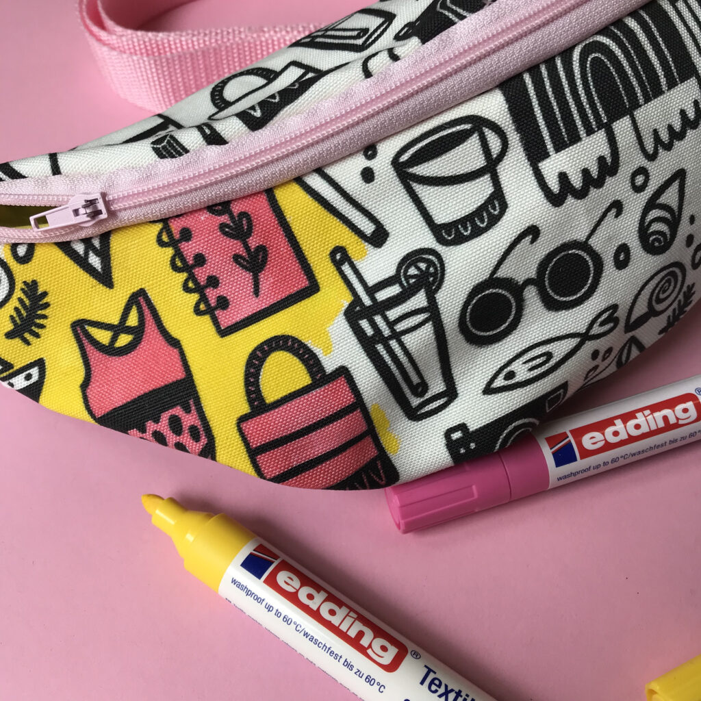 Black and white beach fanny pack partially colored in with yellow fabric marker | Spoonflower Blog
