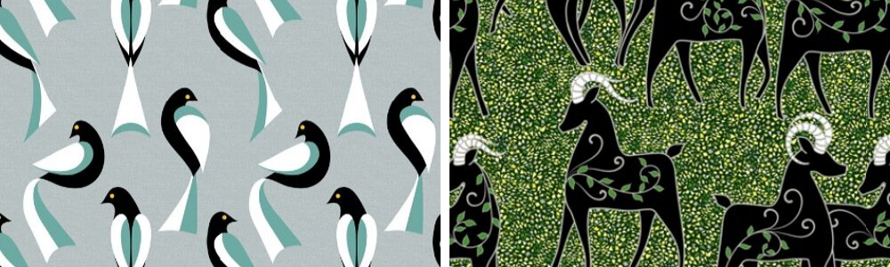 Virginia's designs incorporate black with speckles of color that shine in the light | Spoonflower Blog