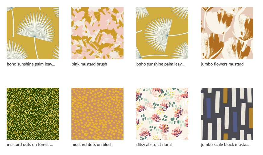 A collection of Julia's designs featuring one of her go-to colors, mustard | Spoonflower Blog